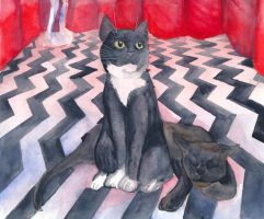 Black Cats, Red Room by raema