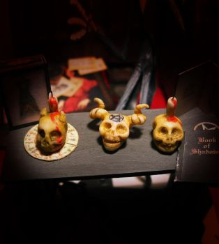 Skulls for rituals with candles 01 by AnnaBellLeeArt