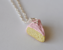 Vanilla Cake with Pastel Pink Frosting by ClayRunway