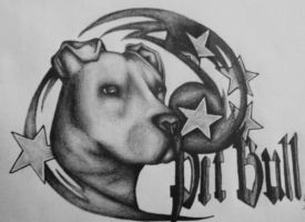 Pit Bull drawing by starlitefairy24