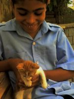 a boy and a cat by sarahkatkut