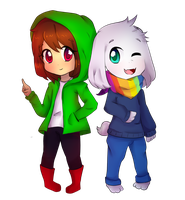 Chara and Asriel [UNDERTALE AU----StoryShift] by SumireShiro