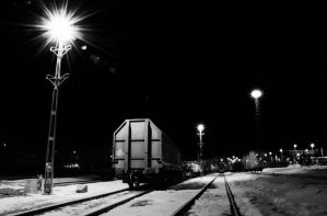 Rail Yard at Night by HenrikSundholm