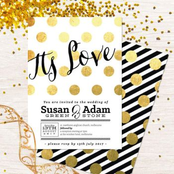 Its Love Gold Polka Dot Wedding Invitation by fabledpapery