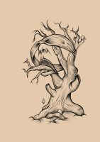 Surreal tree tattoo design by DeadThomas