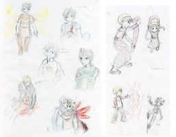 HS fangame - Lost Chums sketches by ChibiEdo