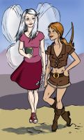 Haley and Celia on the road by FrauBlucher