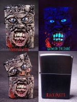 LeatherFace Zippo by Undead Ed Glows in the Dark 1 by Undead-Art