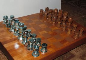 Nut and Bolt Chess Set by graphicpoetry