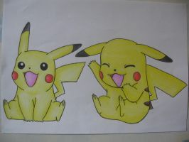 Pikachu Drawing -Pencil Colour by sazmullium