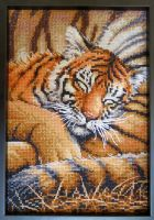 Sleeping Tiger Cross-stitch by KimiLavender