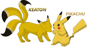 Keaton and Pikachu by Sandstormer