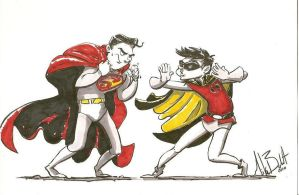 Superboy vs Robin by wfbarton