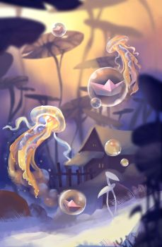 Card illustration: Jellyfish Farm by ApollinArt