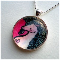 Pink Unicorn Necklace Pendant by cellsdividing