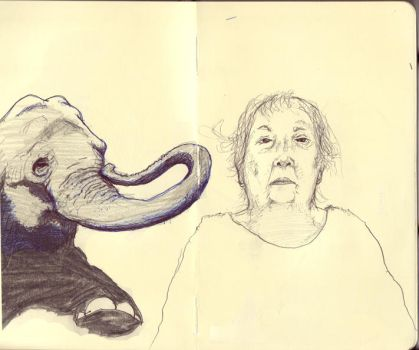 Grandma and Elephant by TheManyMuse
