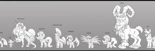 MLP characters lineart study by Animewave-Neo