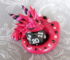 Pink Sleeping Dice Dragon by DragonsAndBeasties