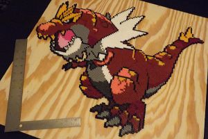 Tyrantrum Perler Beads by kamikazekeeg