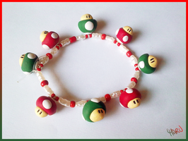 Super Mario Mushrooms Bracelet by CookingMaru