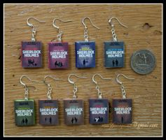SHERLOCK HOLMES Clay Mini Book Earrings by maryfaithpeace