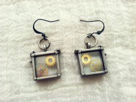 Glass Box Steampunk Earrings by NBetween