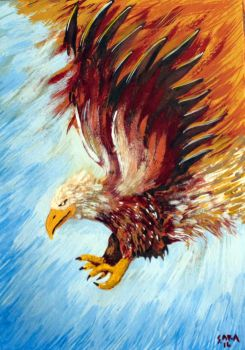 Eagle turning into a phoenix by beccaraptor