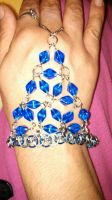 Blue Glass and Chain Maille Slave Bracelet by ravenarcana
