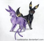 Espeon and Umbreon Gift by SunlessRise