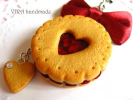 Cute butter cookie with cherry jam by virahandmade
