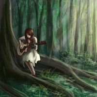 Girl in a forest by Shirt-less