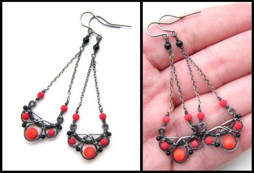 red and black earrings by annie-jewelry