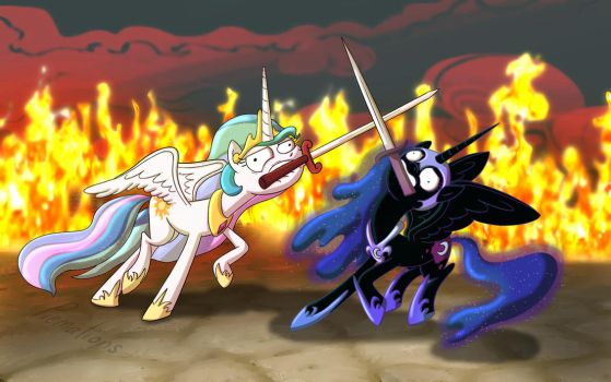 Ponies sword fighting can't look cool by PiemationsArt
