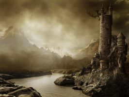 Fantasy landscape with a tower by ricaeles