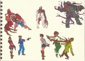 Resident Evil 1_2_3 heroes n monsters 01 by AlexBaxtheDarkSide