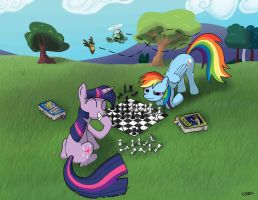 Twilight and Rainbow Dash play Chess by rofljay