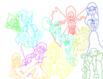 Sword Spirit Group Pic - Lineart by SkyesGirl