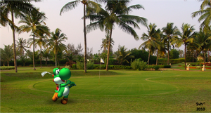 Yoshi is playing golf by Sintonio