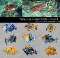 Fishes and Turtles Exclusive Set I by YBsilon-Stock