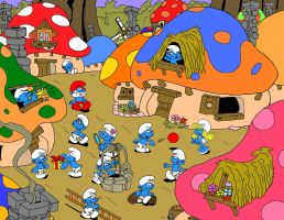Smurf Village by NY-Disney-fan1955
