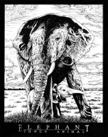 Elephant Power Animal drawing by renonevada