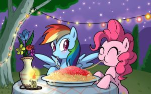 pinkie and rainbow eating pasta by Rainbow-Dash001