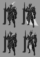 Plate Armor Character Concept - Iterations by jeffchendesigns