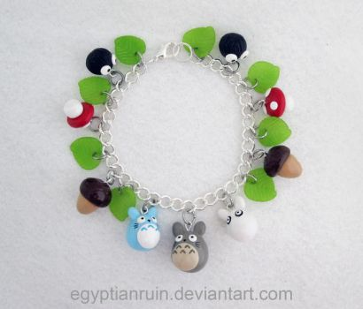 My Neighbor Totoro Studio Ghibli Charm Bracelet by egyptianruin