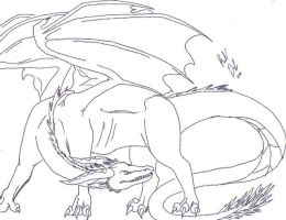 Dragon -lineart- by DragonicWrath