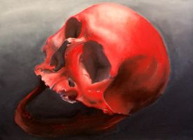 skull-oil on canvas by krzyo1125