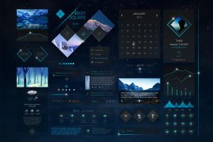 Neon Square UI Kit by sandracz