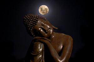 The Buddha And The Moon by prashantbudhathoki
