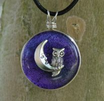 Owl's Night Purple Fused Glass by FusedElegance