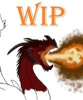WIP: Red Welsh Dragon by sora-bubble